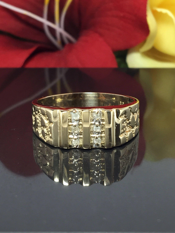 Vintage 10k Solid Gold Men S Diamond Nugget Ring Etsy Mens Pinky Ring Rings For Men Hipster Rings