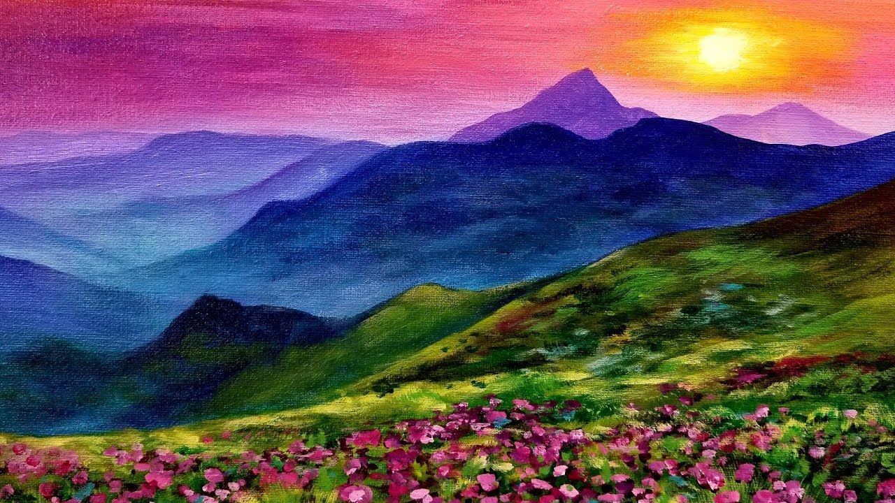 Sunset Landscape Live Acrylic Painting Tutorial Youtube