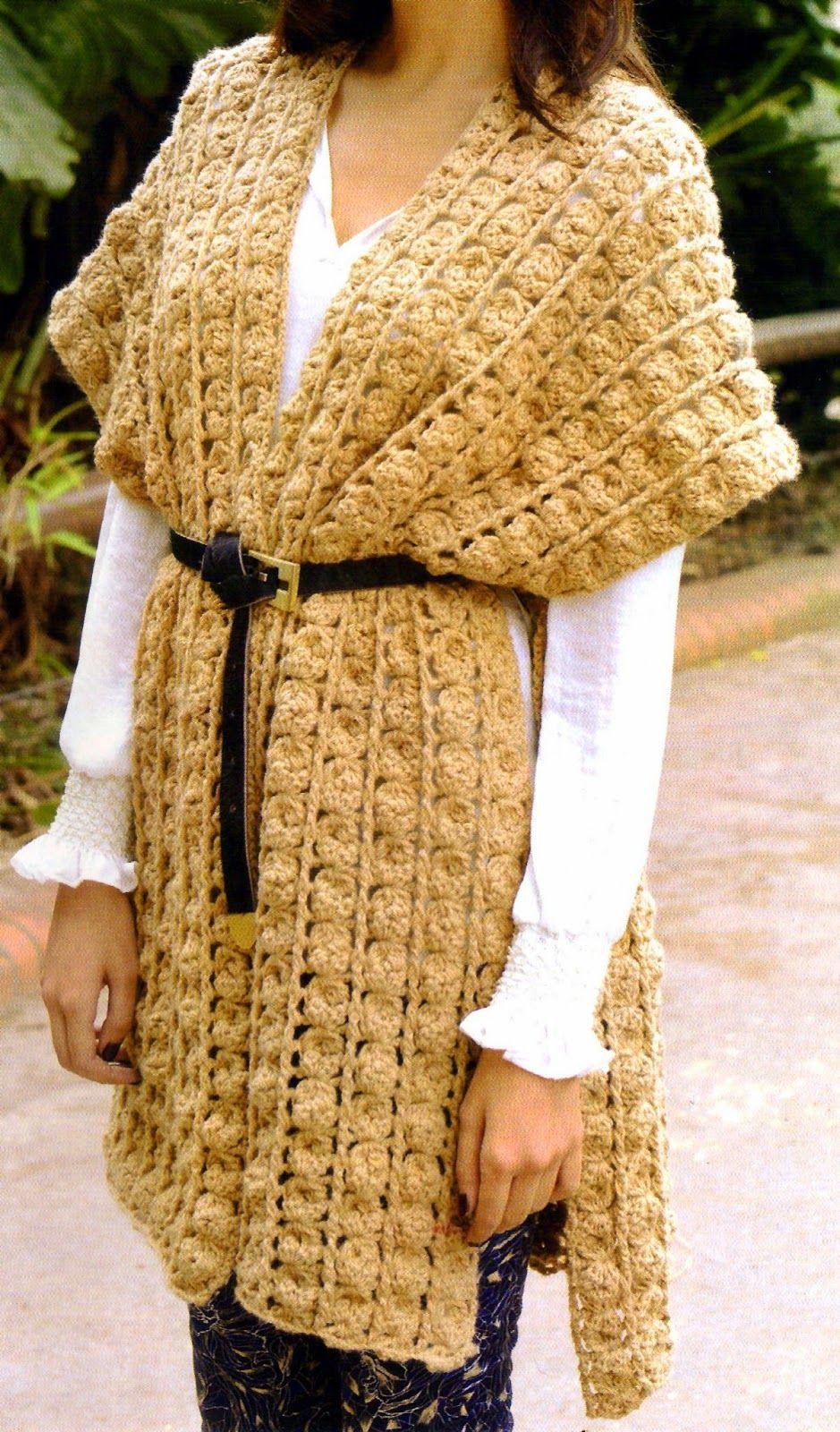 poncho chic tejido en crochet Perfecto para abrigarte y darle un ...