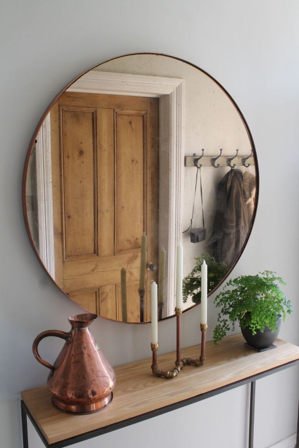 Hanging A Mirror Over Furniture Oak Console Table Hallway
