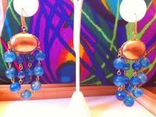 Gorgeous 18k gold plated blue lace agate earrings!! $80