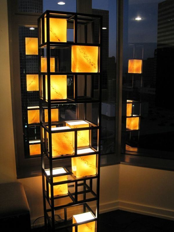 wohnzimmer beleuchtungsideen leuchtende skulptur schwarz gelb   Casa ...