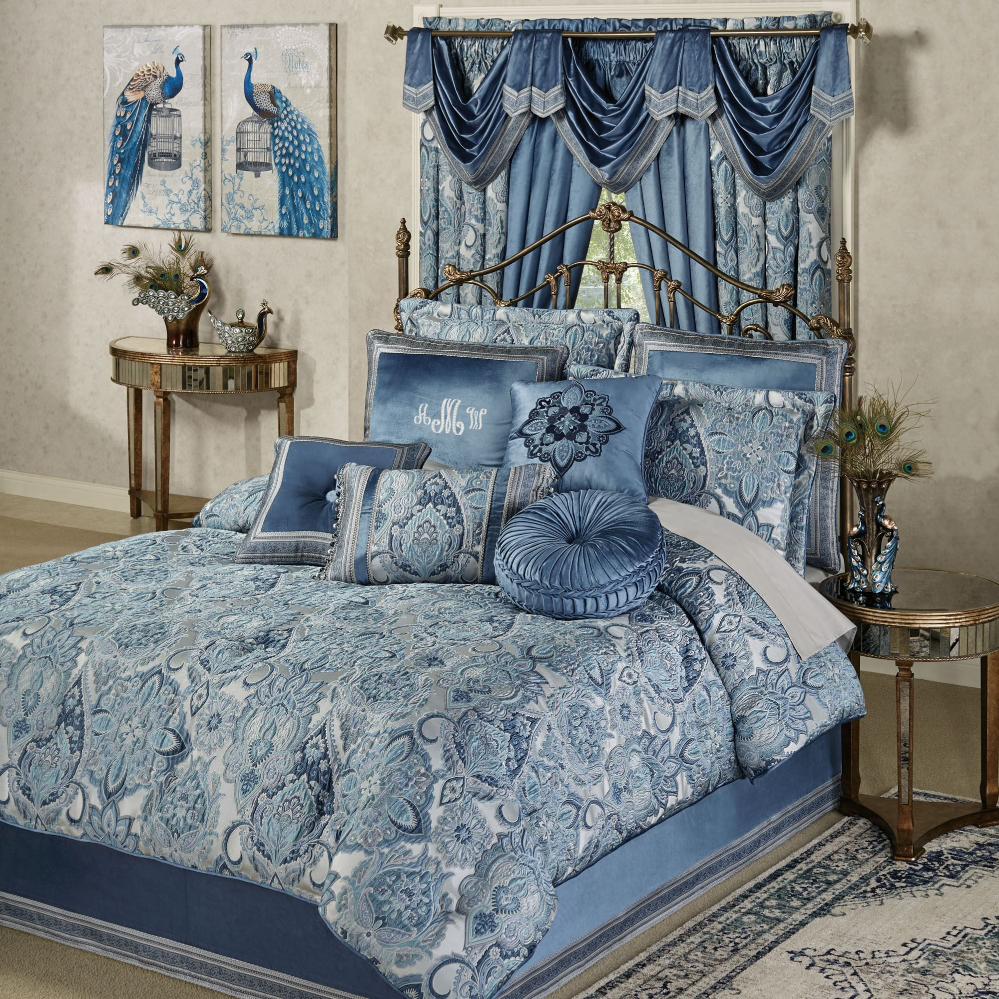 Arabelle Jacobean Damask Blue Comforter Bedding Bedroom Comforter Sets Bed Linens Luxury Luxury Bedding