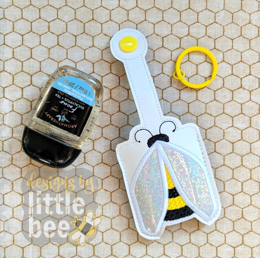 Bee Hand Sanitizer Holder Key Fob Snap Tab 02 09 2018 Hand