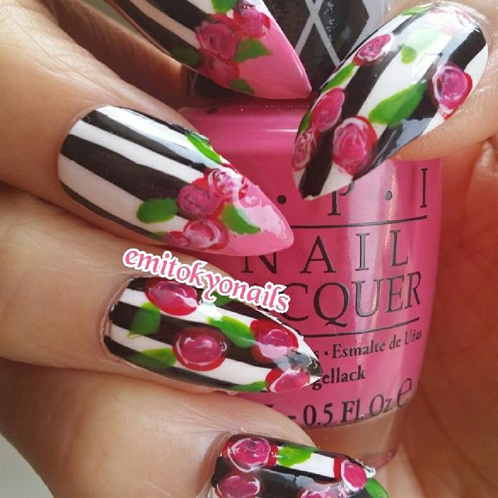 Hand Painted Oval Short Stiletto Nails /Flower Vintage Nails FULLSET ...