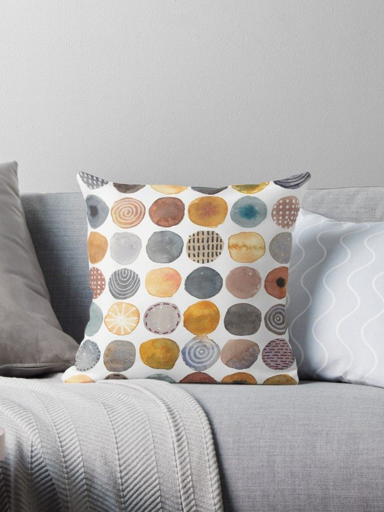 Circles Round Shapes In Neutral Colors Watercolor Painting By Kitty Van Den Heuvel Neutral Colors Pillows Throw Pillows