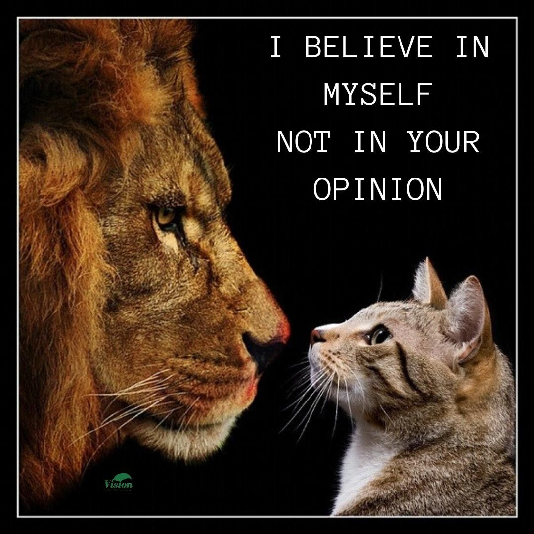I Believe In Myself Not In Your Opinion Visionsocialmediamarketing Vsmm In 2020 Instagram Marketing Lion Quotes Tamil Motivational Quotes