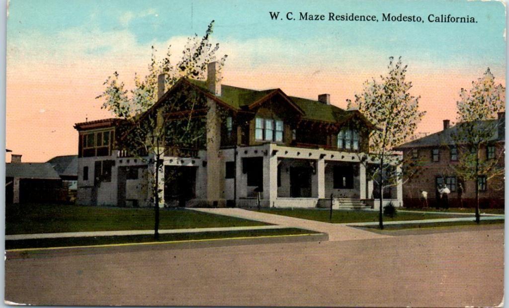 "Modesto California Postcard ""w C Maze Residence"" House"