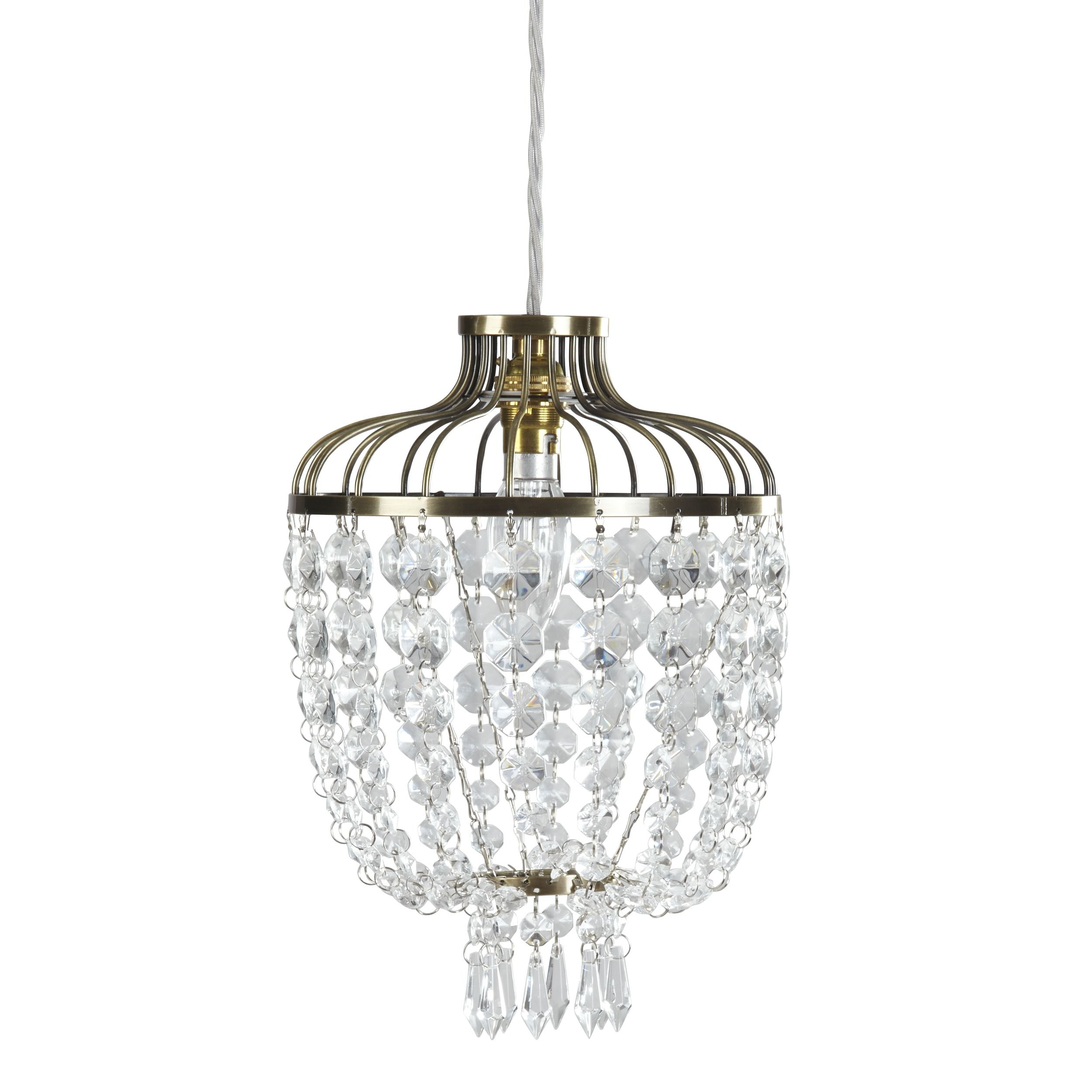 Eliza gold and crystal easy fit pendant light a 1920s inspired easy eliza gold and crystal easy fit pendant light a inspired easy fit ceiling pendant light designed with an antique gold colour frame hung with swags of aloadofball Gallery