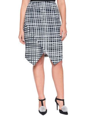 a813f67813d28 ELOQUII Plus Size Printed Asymmetrical Hem Wrap Skirt Inverted black and white  plaid prints create subtle contrast and bold lines in our Printed ...
