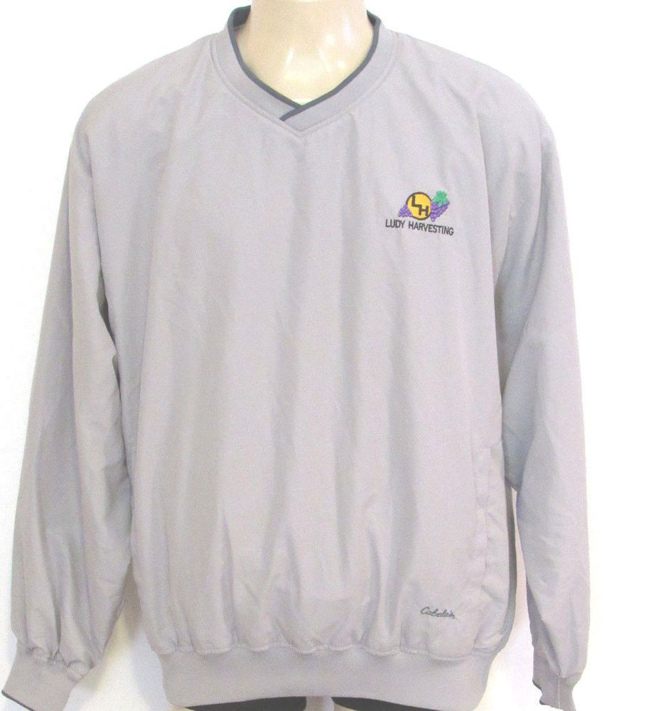 NEW Cabelas Pull-On Windbreaker size XL TALL Goose Gray Vineyard Ludy Harvesting #Cabelas #Windbreaker