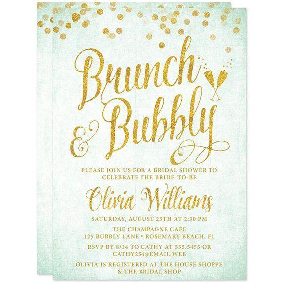 6b0b7ca5cb04 Mint and Gold Brunch   Bubbly Bridal Shower Invitations - DIY PRINTABLE  Bridal Shower Invitations -