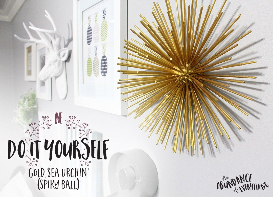 Home Decor Gallery Part - 49: Do It Yourself Gold Sea Urchin (Spiky Ball) For Gallery Wall Or Home Decor