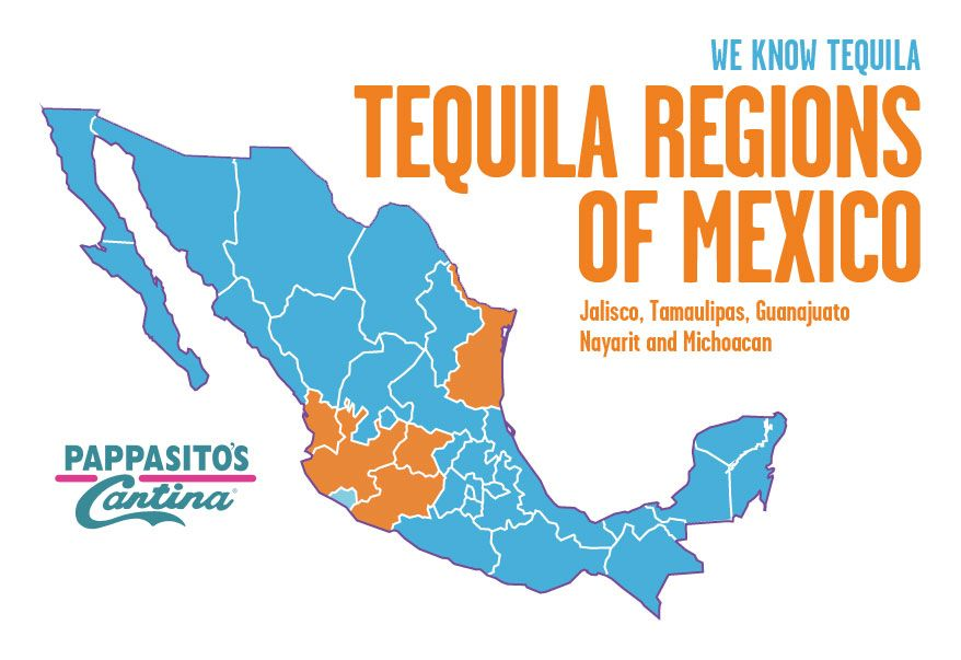 Pappasitos Cantina Tequila Regions of Mexico Vino y Mas