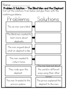 The Blind Men And The Elephant Problem Solution Worksheet