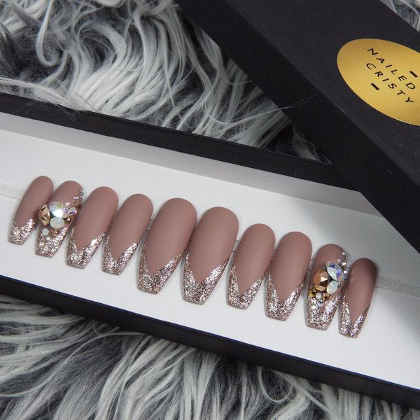 Matte Mauve Press On Nails With Rose Gold Glitter Tips Swarovski 1195 MXN Liked Polyvore Featuring Beauty Products Nail Care And