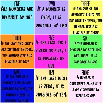 A FREE colorful divisibility rules poster for any math classroom - prime number chart