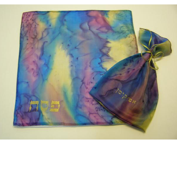 Hand painted silk matzo cover with 3 layers and matching afikoman bag..