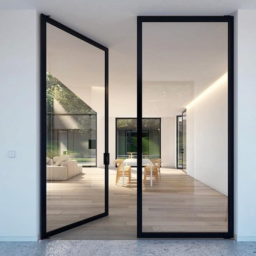 Cyr And Company On Instagram All Glass Large Pivot Doors Aspenbuilder Aspenhome Glass Hinged Patio Doors Door Design Interior Cool House Designs