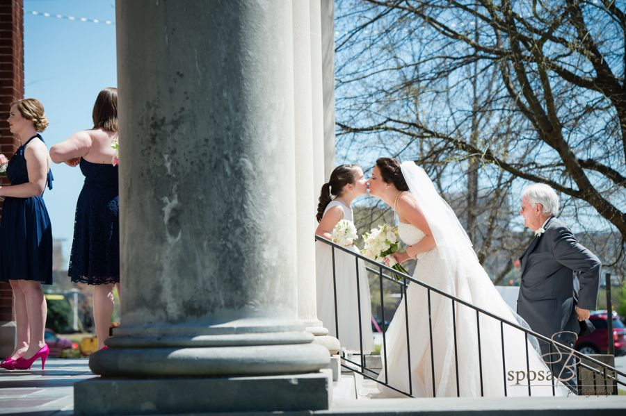 Sweet Moment Between Bride And Flower Girl Before They Walk Down The Asile Bella Photography Wedding Parties Pictures Wedding Photographers
