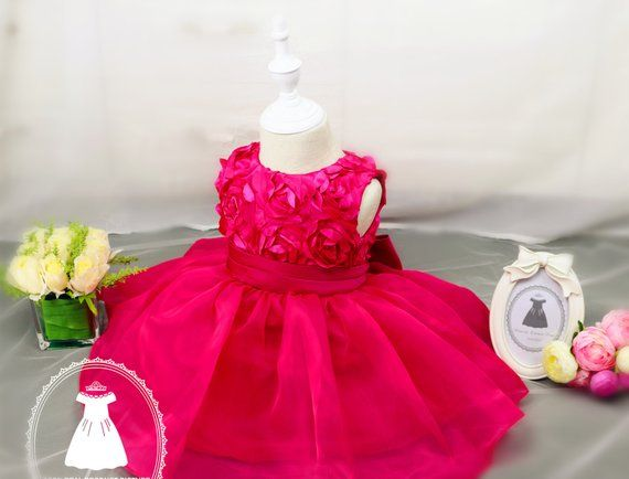 969ed36a4b54 Christmas Dress Long short sleeve Hot Pink Baby Pageant Dress ...