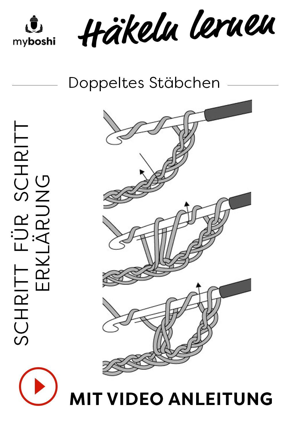 Hakeln Lernen Das Doppelte Stabchen In 2020 Learn To Crochet Easy Knitting Crochet Basics