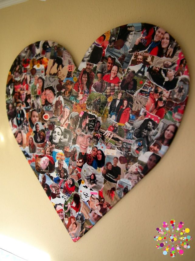 Personalised Decoupage Heart.... Cut heart from cardboard, photocopy photographs, various sizes, PVA pictures to card, coat in PVA, done