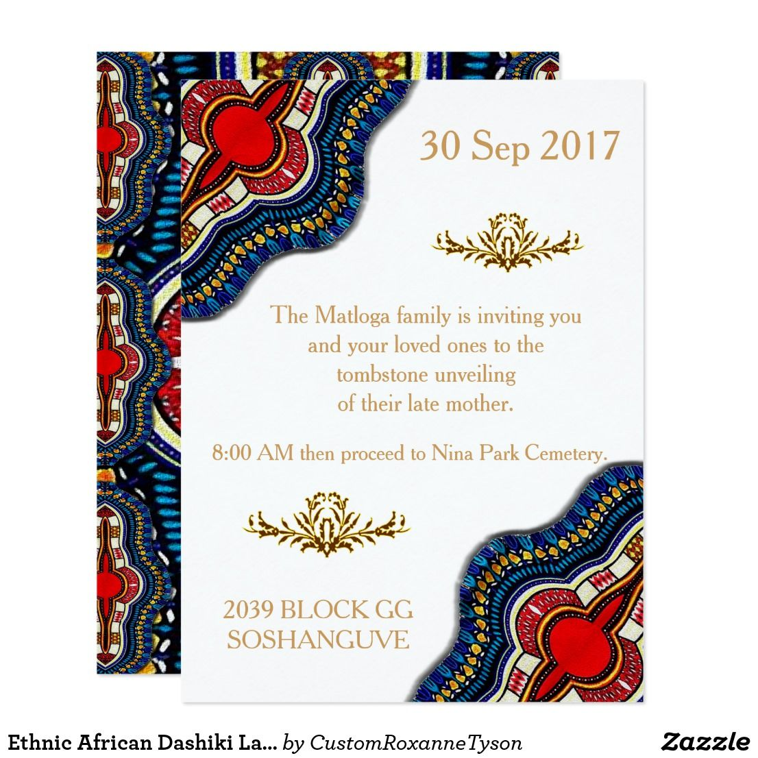 Create Your Own Invitation Zazzle Com Wedding Party Cards African Wedding Theme Traditional Invitation