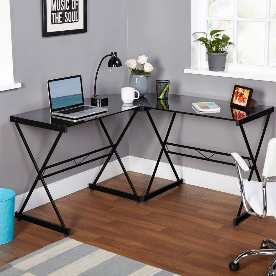 office glass tables. Classy Atrium Metal And Glass L-shaped Computer Desk, Durable Tempered Sturdy Frame, Elegant Addition To Home Office Furniture, Tables