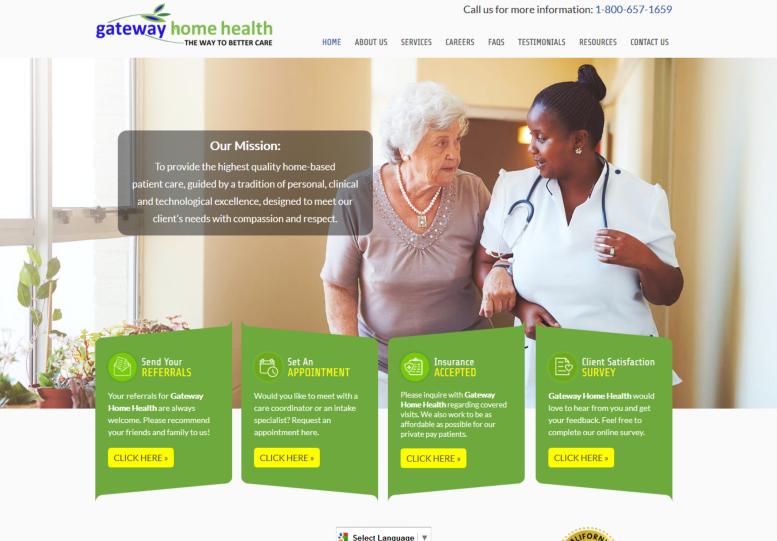 Custom web design services home health care.