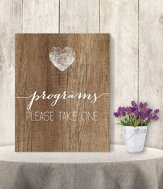 Wedding Program Sign // Please Taken One // by JadeForestDesign