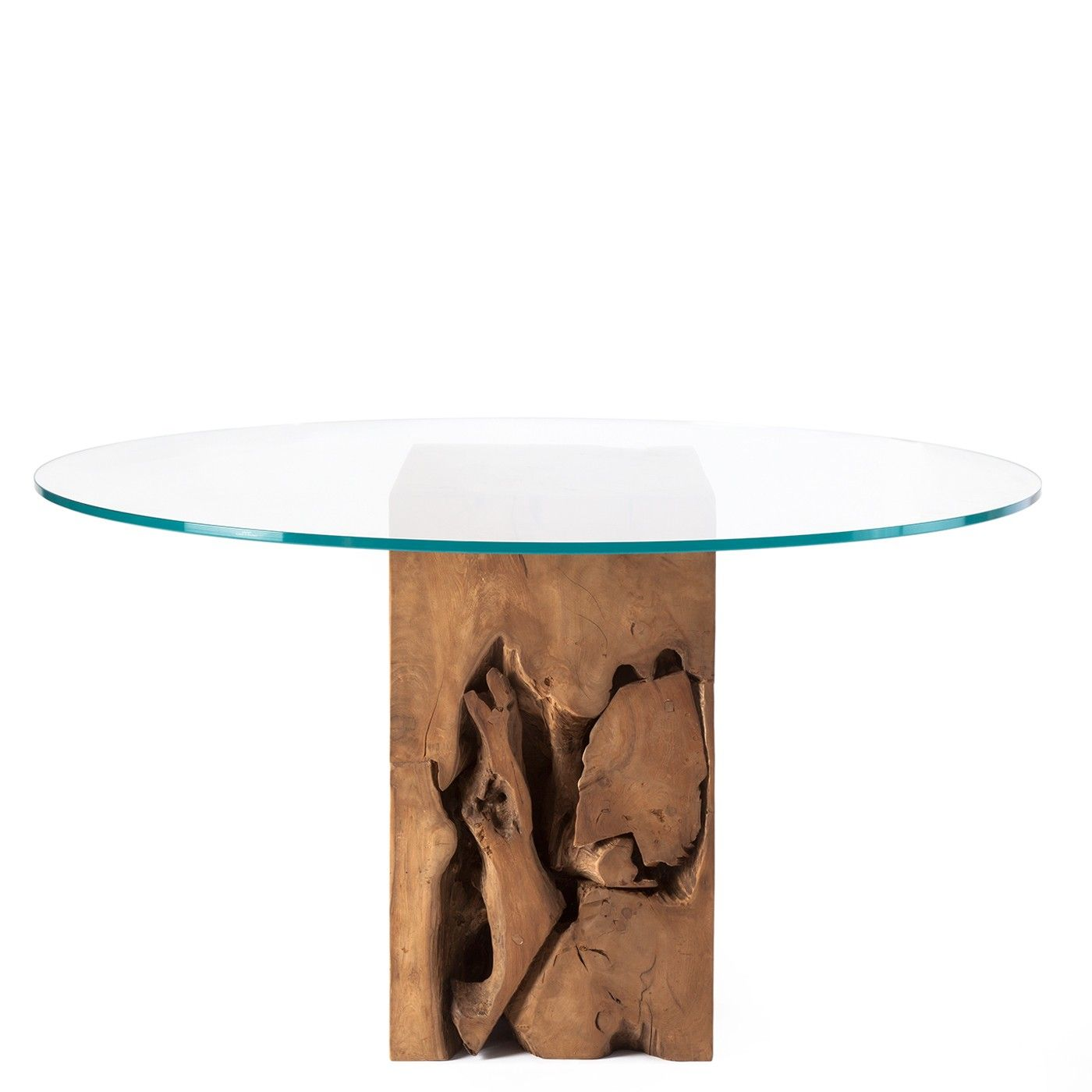 Natura Root Round Coffee Table Condo Size: Teak Root Round Glass Top Dining Table Natural Teak