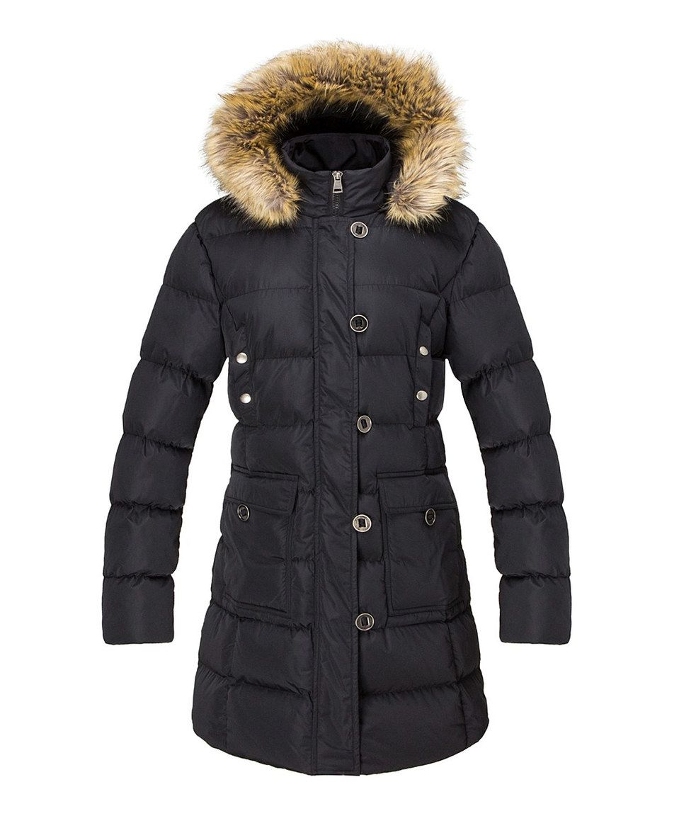 cb56704fd65f65 Look what I found on #zulily! The Whole Shebang Black Faux Fur-Trim Hooded  Button Puffer Coat - Plus by The Whole Shebang #zulilyfinds