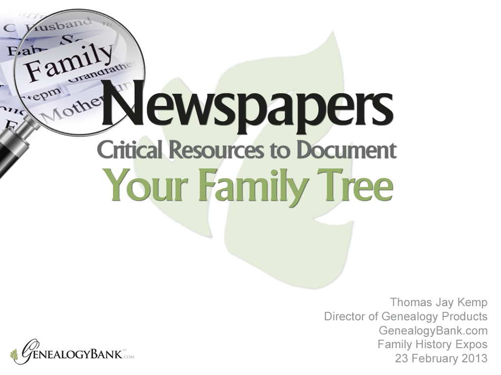 Learn how to do genealogy research with records found in newspapers in this PowerPoint presentation from the 2013 Family History Expo in St. George, Utah: http://www.slideshare.net/genealogybank/genealogy-research-with-records-in-newspapers    #ancestry #newspapers #familytree