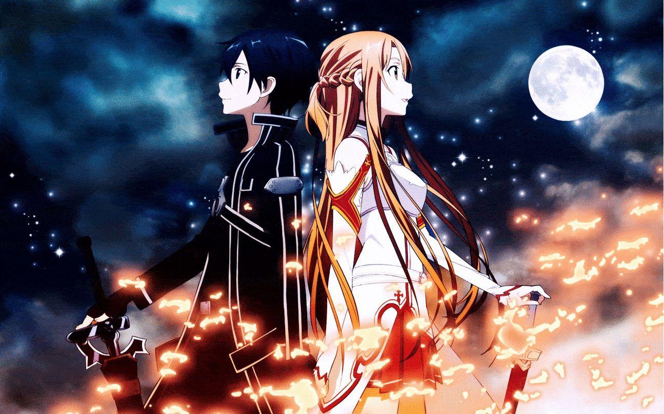 New Anime Sword Art Online SAO Gun Gale GGO Kirito /& Asuna Wall Scroll