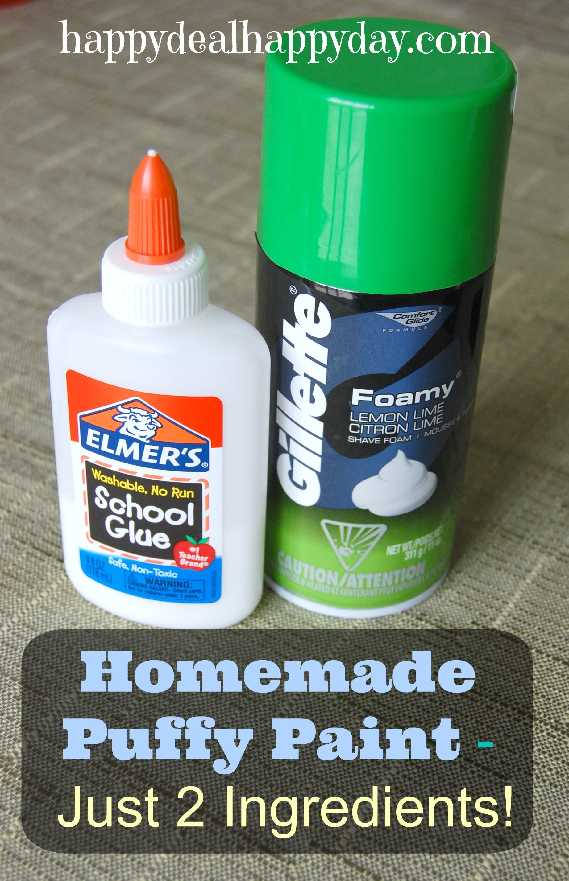 Homemade puffy paint with shaving cream just 2