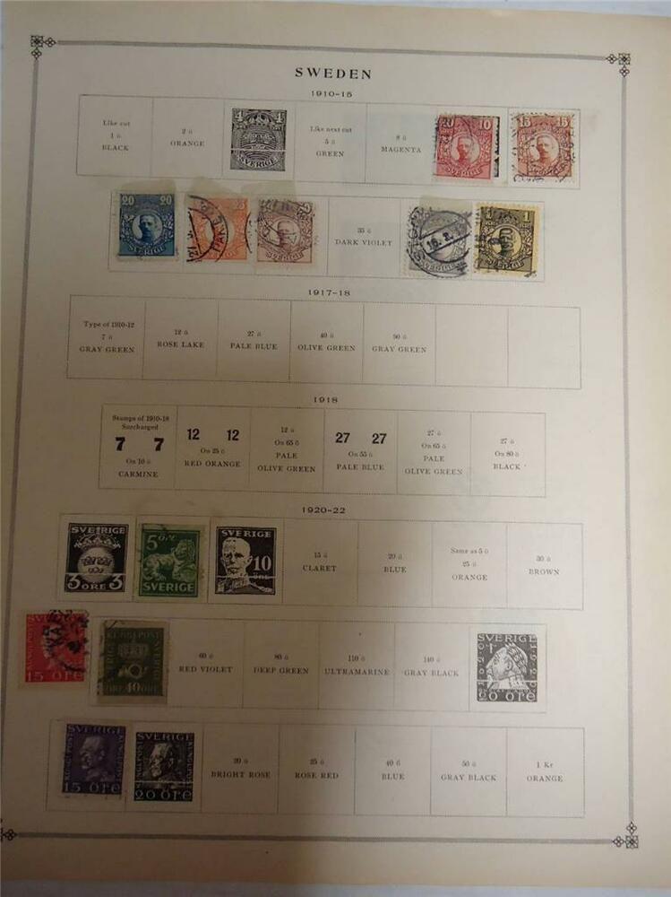 Vintage Sweden Postage Stamps 1910 1922 On Page Lot Of 11 Ebay In 2020 Postage Stamps Stamp Postage