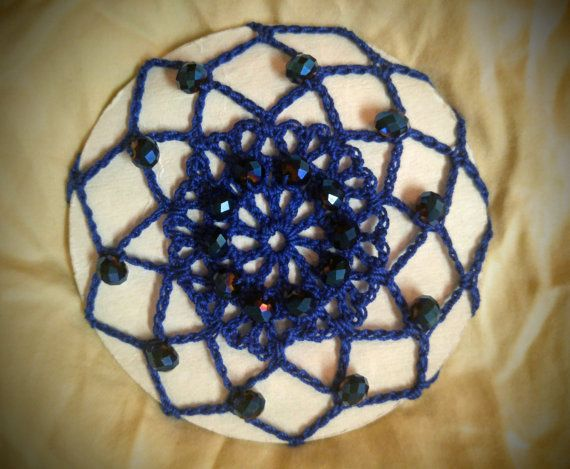 Blue crochet bun cover snood with blue beads | CROCHET IDEAS | Pinterest