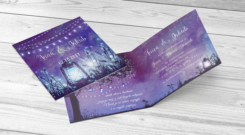 Zaproszenie Slubne Swiatelka Latarenka Light Laterns Invitation Wedding Fioletowe Purple Cards And Invitations Invitations Cards