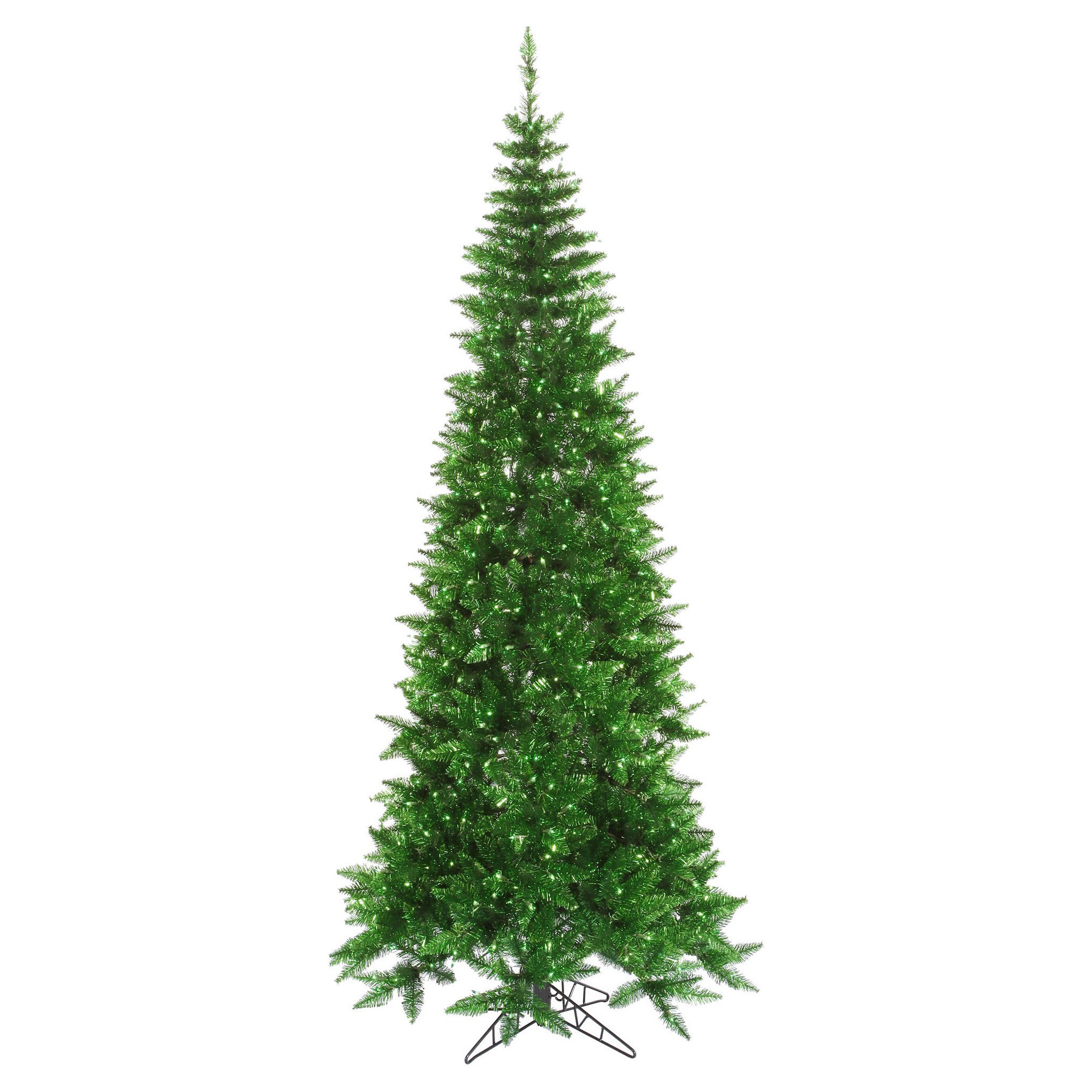 4.5\' Pre-Lit Artificial Christmas Tree Tinsel Green Tinsel Slim ...