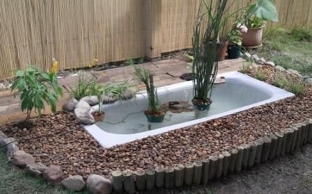 20 yard landscaping ideas to reuse and recycle old bathroom tubs for ponds and planters yard - Cheap pond ideas ...