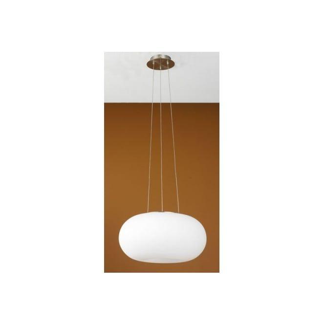 Eglo 86814 optica 2 light modern ceiling light pendant opal and nickle matt finish medium