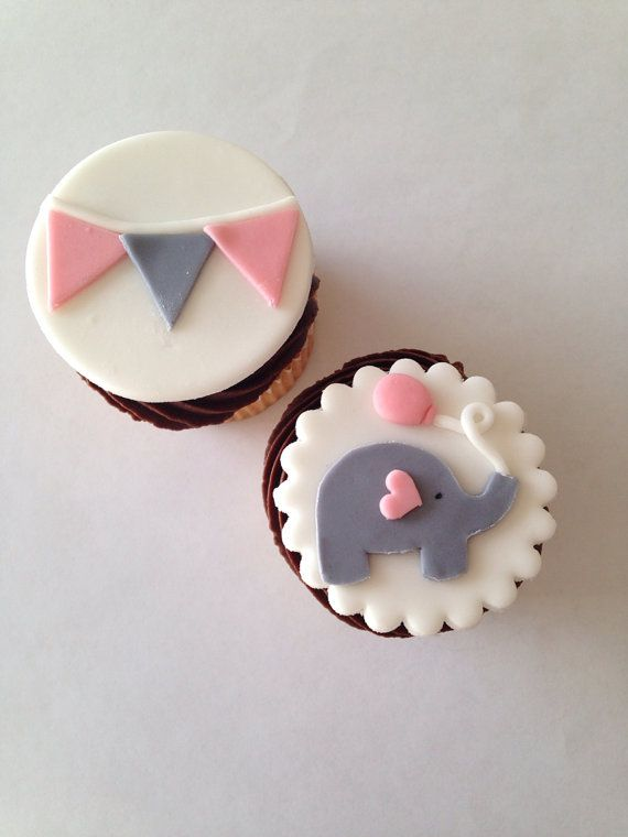 Elephant and Bunting Fondant Cupcake Toppers by WellDressedCupcake