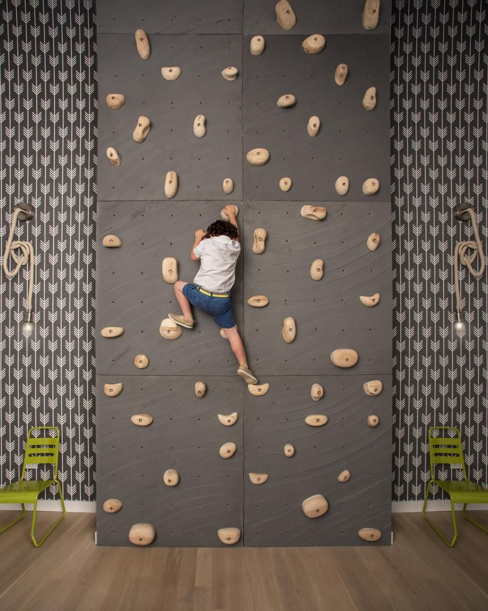 Rock Wall For Kids: Kids Will Go Ga-ga Over This Playroom With A Climbing Wall