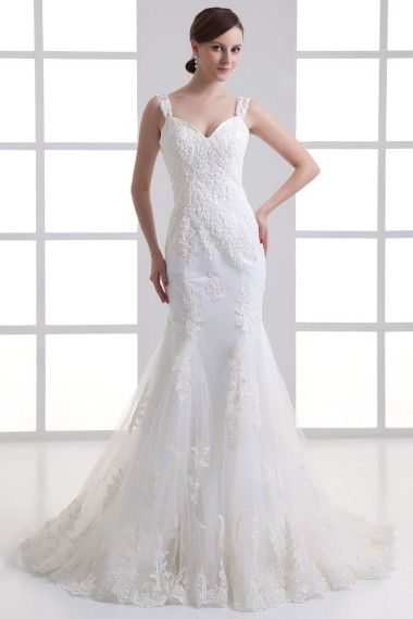Satin and Net Straps Sheath Sweep Train Embroidered Wedding Dress - Alice Bridal