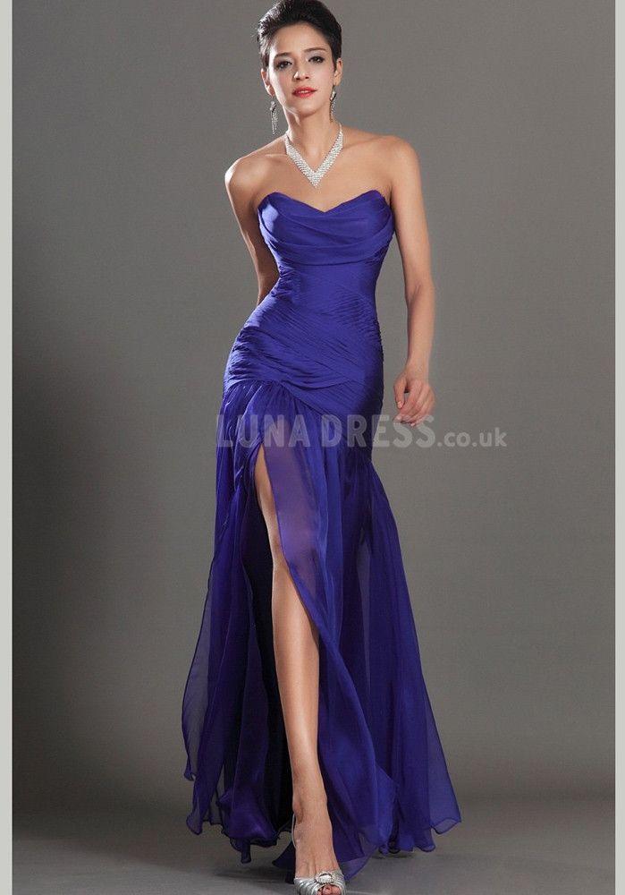 Chiffon Evening Gown With Side Slit   vestidos   Pinterest   Vestiditos
