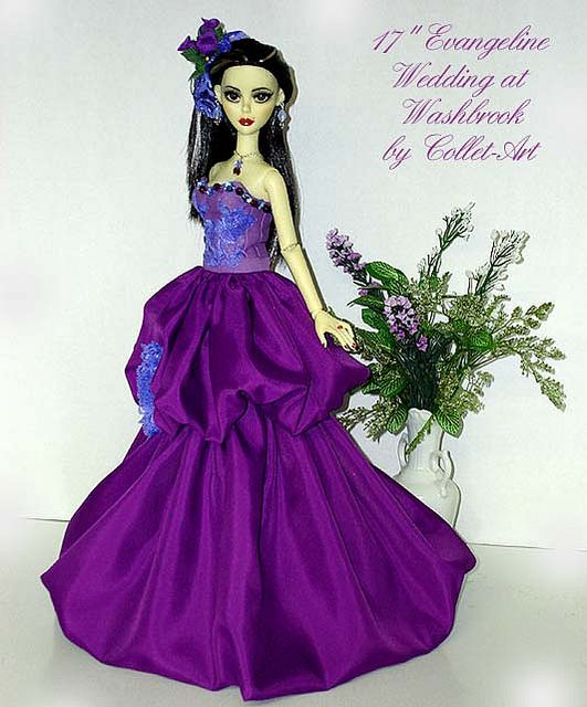 """2011 TONNER EVANGELINE GHASTLY OOAK DOLL FASHION GOWN OUTFIT """"WEDDING AT WASHBROOK"""" BY COLLET-ART 