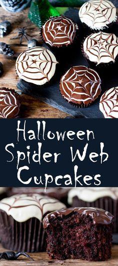 Halloween Spider Web Chocolate Cupcakes Recipe Spider webs - halloween dessert ideas
