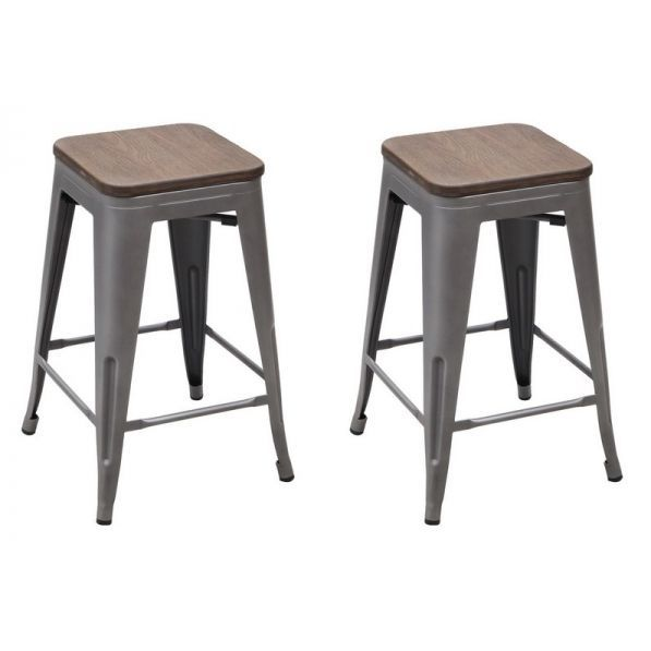 Magnificent Vintage Metal Stools With Solid Wood Seat Set Of 2 Lamtechconsult Wood Chair Design Ideas Lamtechconsultcom