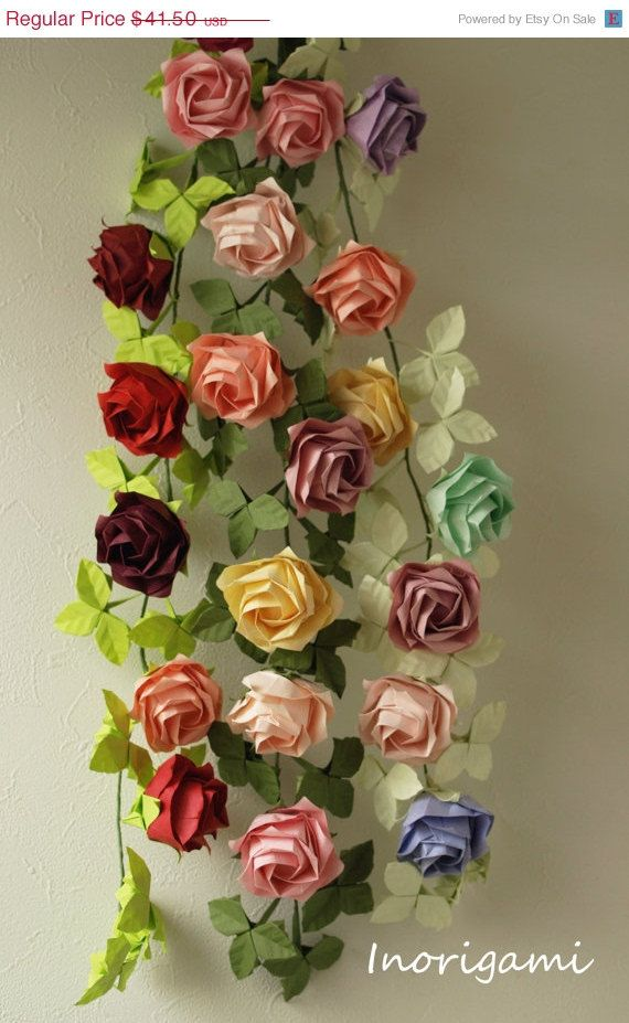 "Photo of 50%OFF SALE< Origami ""Fine"" Rose Vine Garland / Home Decor / Party Decor and-or Accessory e.t.c. によく似た商品を Etsy で探す"